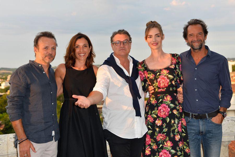 Pierre-François Martin-Laval, Aure Atika, Bruno Chiche, Louise Bourgoin et Stéphane De Groodt au festival du film francophone d'Angoulême, le 23 août 2017.