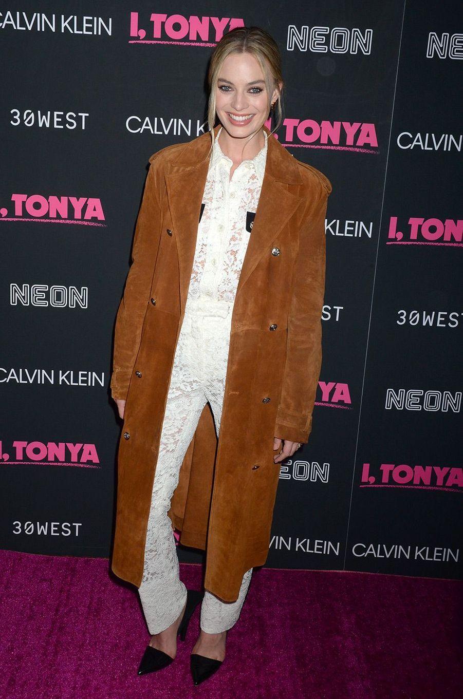 """Margot Robbie à l'avant-première de """"Moi, Tonya"""" à New York, le mardi 28 novembre"""
