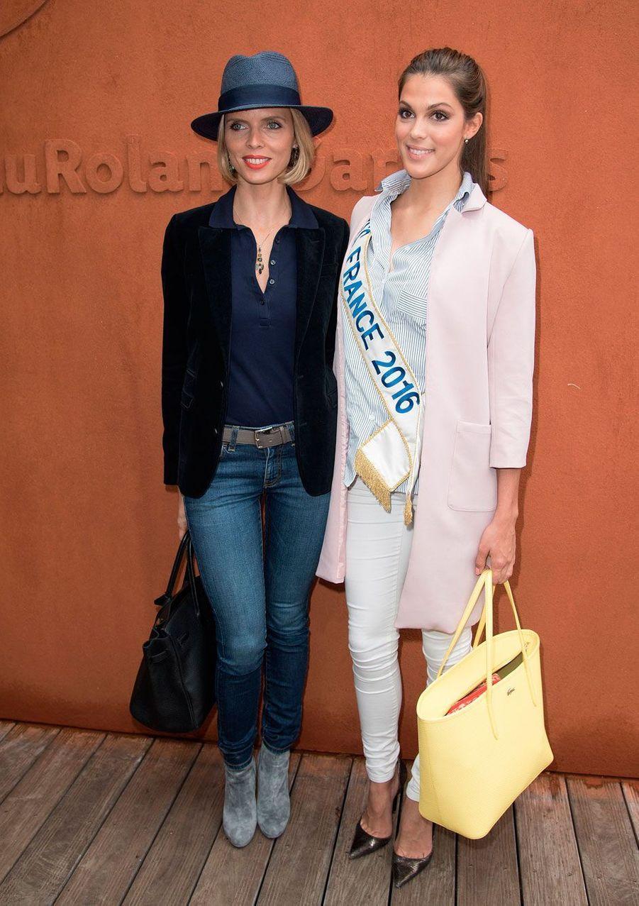 Sylvie Tellier et Iris Mittenaere à Roland-Garros