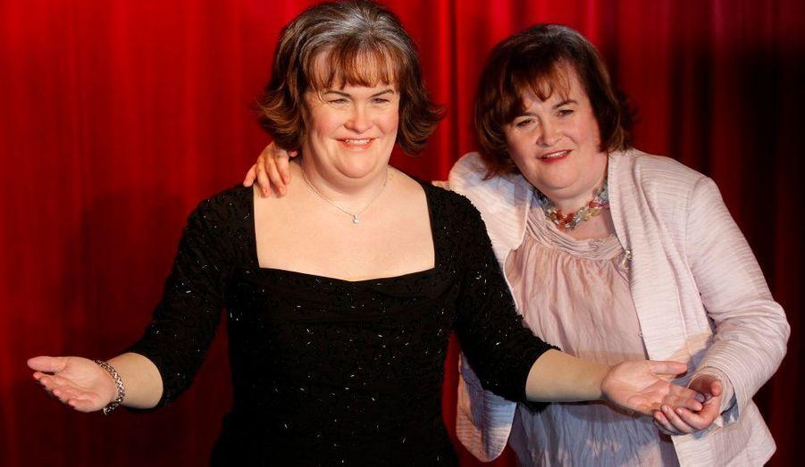 La chanteuse écossaise Susan Boyle, révélée dans l'émission de téléréalité Britain's Got Talent en 2009, a inauguré sa statue de cire au musée Madame Tussauds, à Blackpool.