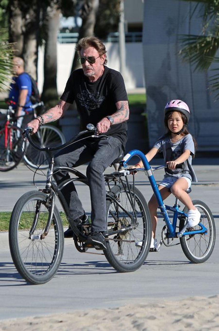 Johnny Hallyday avec Joy à Santa Monica, le 24 janvier 2015