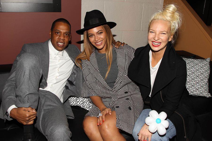 Jay Z, Beyoncé et Sia à New York le 7 décembre 2014