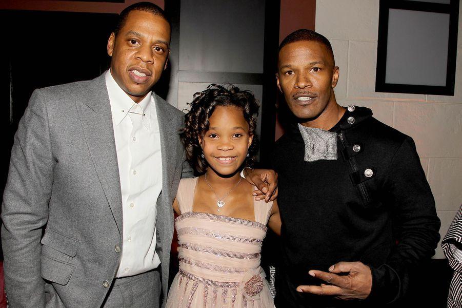 Jay Z, Quvenzhané Wallis et Jamie Foxx à New York le 7 décembre 2014
