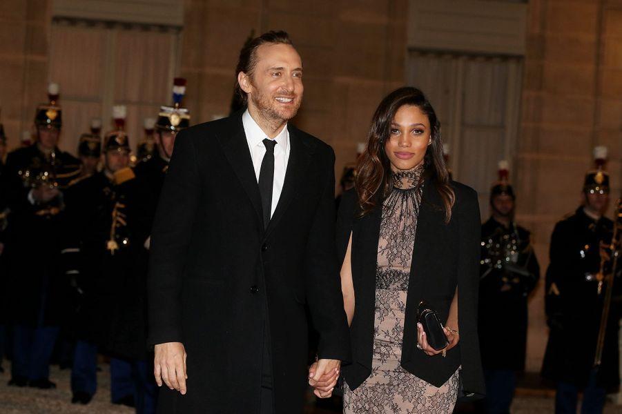 David Guetta et Jessica Ledon à Paris le 1er février 2016