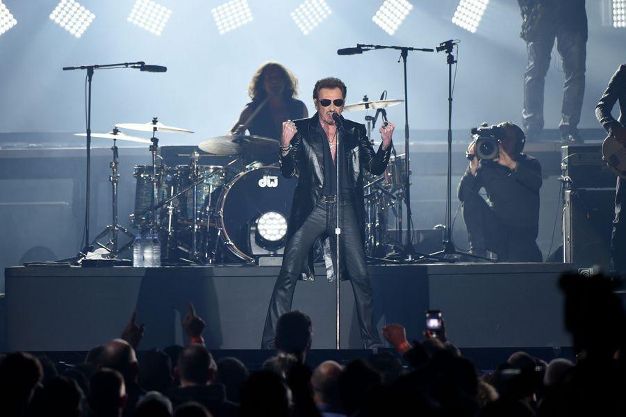 Johnny Hallyday en concert à Bruxelles, le 26 mars 2016.