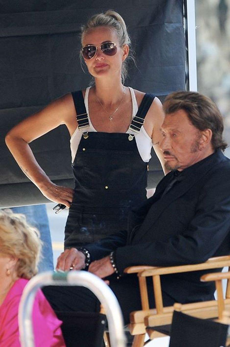 Johnny Hallyday sur le tournage de son nouveau clip à Los Angeles, en compagnie de sa femme Laeticia, le lundi 13 octobre 2014