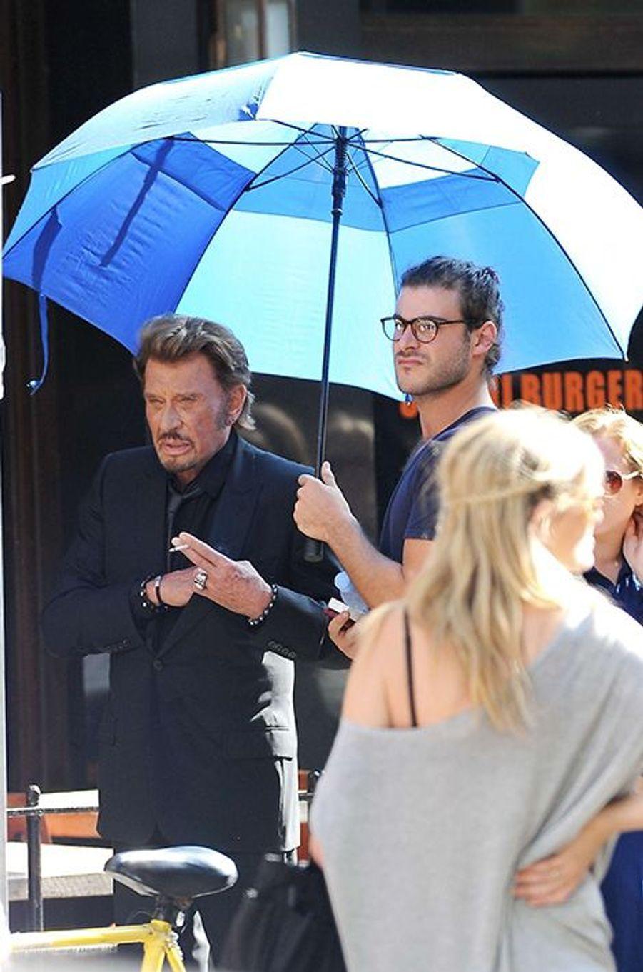 Johnny Hallyday sur le tournage de son nouveau clip à Los Angeles le lundi 13 octobre 2014