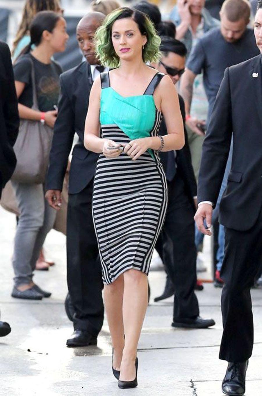 Katy Perry arrive à la soirée Jimmy Kimmel Live, Los Angeles, avril 2014