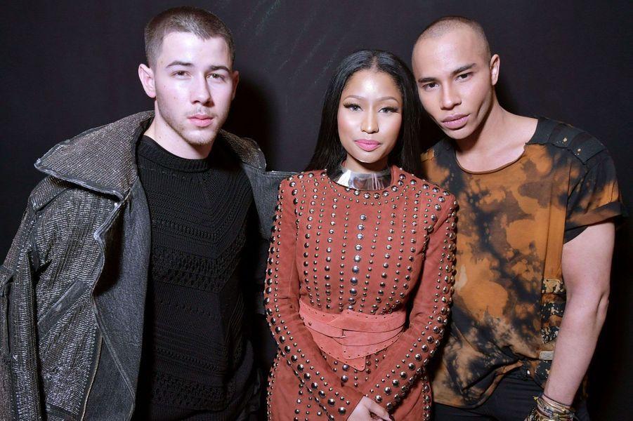 Nick Jonas, Nicki Minaj et Olivier Rousteing.