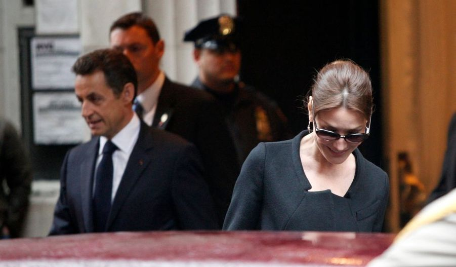 Le couple présidentiel quittant le Carlyle hotel, où ils logent, comme en juillet dernier.