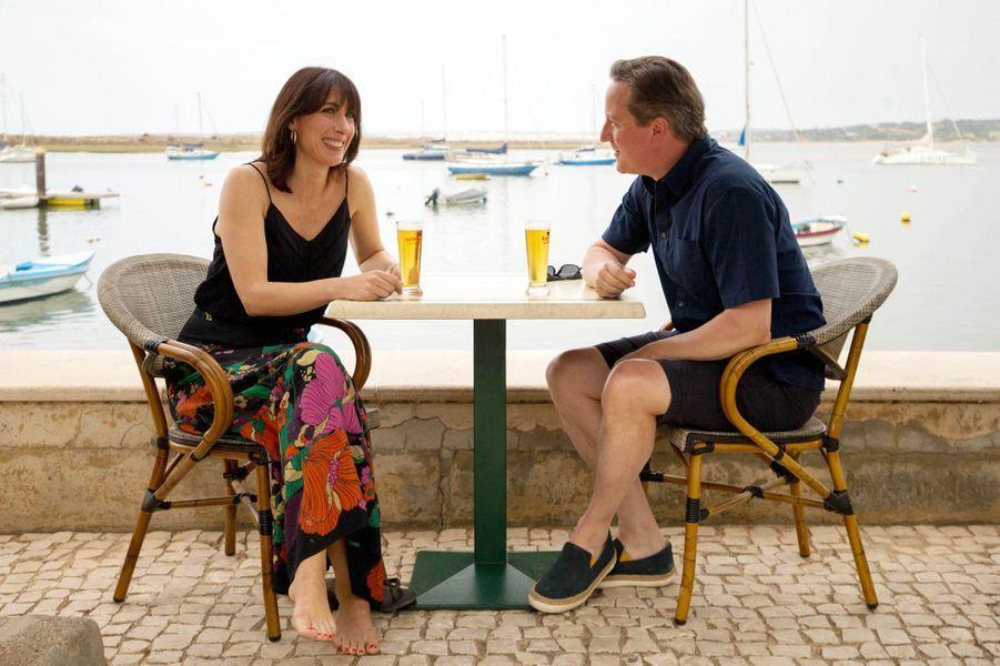 David Cameron et son épouse Samantha en vacances à Alvor au Portugal, en août 2015