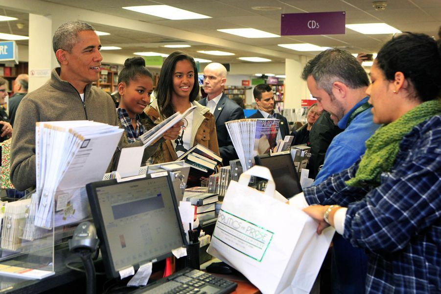 Barack Obama, avec ses filles Malia et Sasha