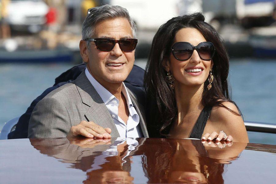 George et Amal Clooney pour leur mariage à Venise, septembre 2014.