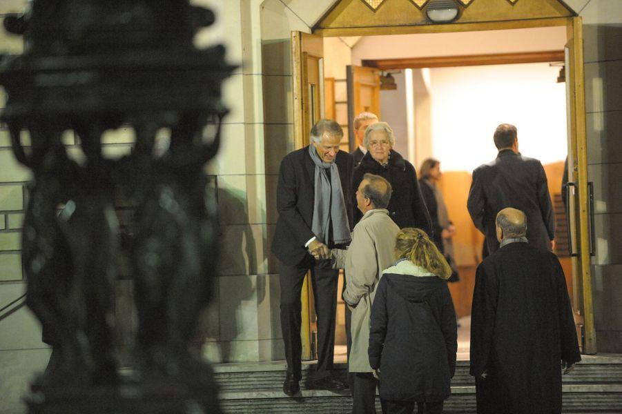 Dominique de Villepin à la messe à la mémoire de son père, l'ancien sénateur Xavier de Villepin, à Paris, le 12 novembre 2014
