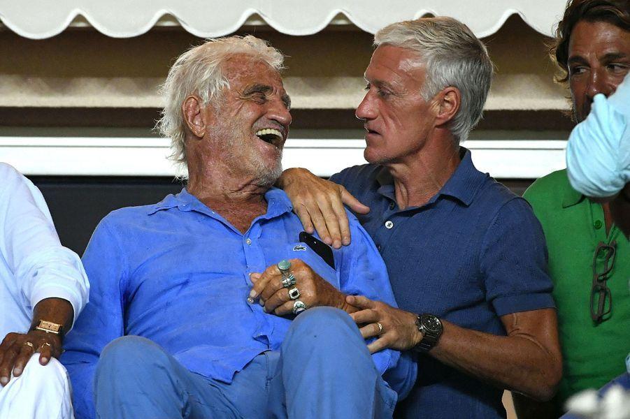 Didier Deschamps et Jean-Paul Belmondo vendredi au stade de Monaco