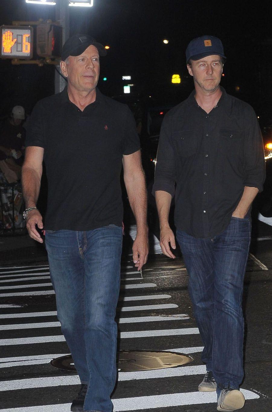 Bruce Willis et Edward Nortonlors de la fête de fiançailles de Quentin Tarantino et Daniella Pick, le 23 septembre 2017 à New York.