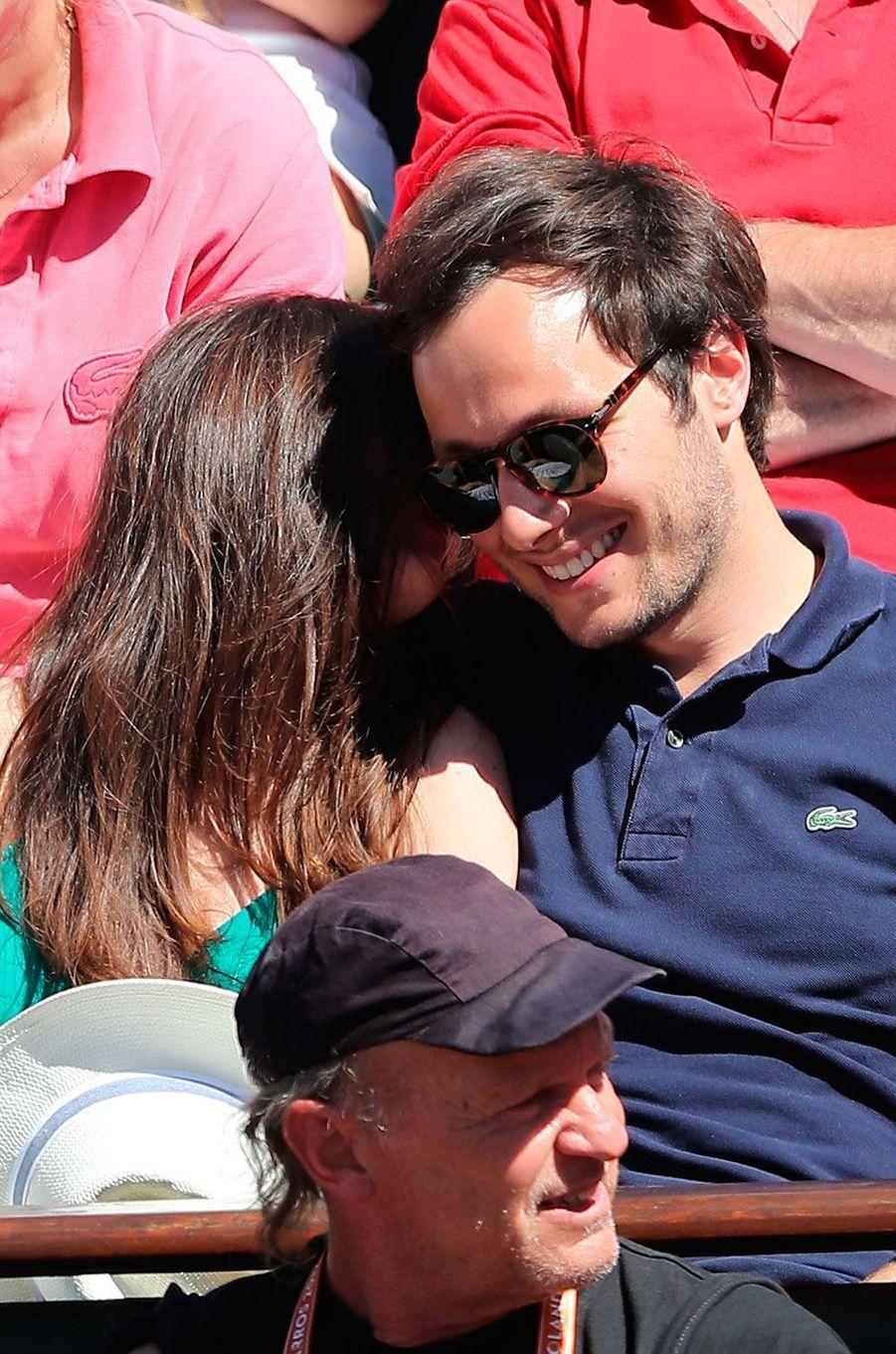 Vianney et sa compagne Catherine Robert à Roland Garros en 2017