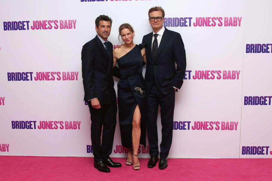 """Renée Zellweger, Colin Firth et Patrick Dempsey à l'avant première de """"Bridget Jones 3"""" à Londres, le 5 septembre 2016."""