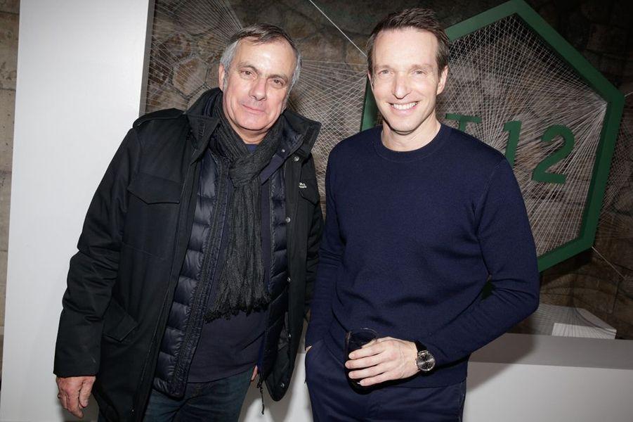 Dominique Chapatte et Stéphane Rotenberg à la soirée Lacoste, à Paris le 22 janvier 2015