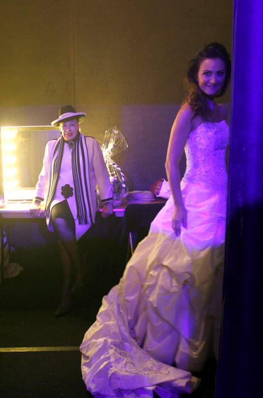 Geneviève de Fontenay et Cyrielle Roidot, Miss Paris 2007, à Rungis le 21 octobre 2014