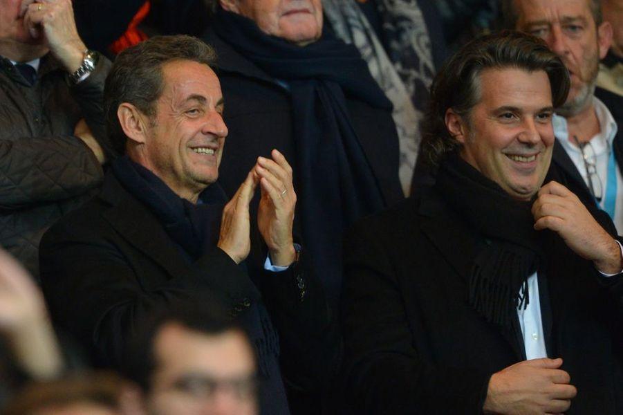 Nicolas Sarkozy et Vincent Labrune à Paris le 9 novembre 2014