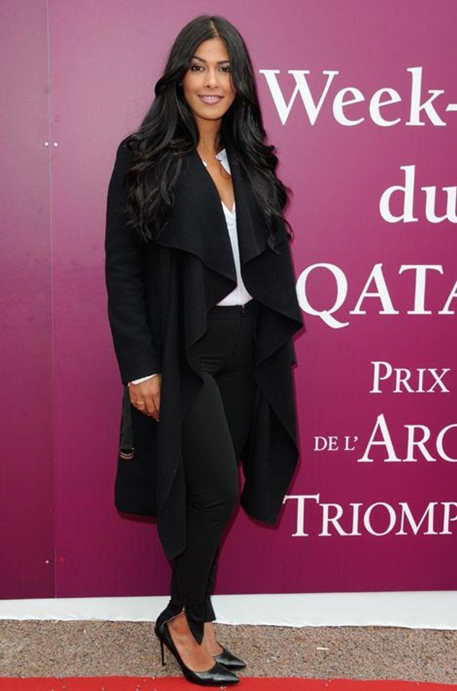 Ayem Nour au Qatar Prix de l'Arc de Triomphe à Paris, le 5 octobre 2014