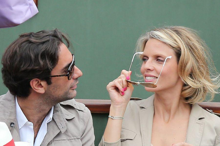 Sylvie Tellier et Laurent à Roland Garros, le 2 juin 2017.