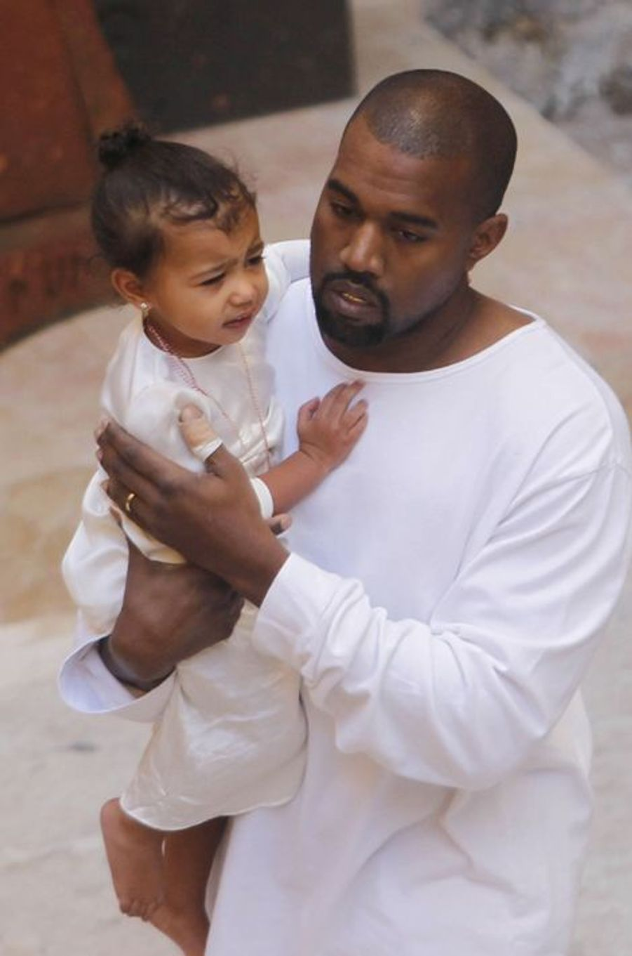 Kanye West et sa fille North à Jérusalem le 12 avril 2015