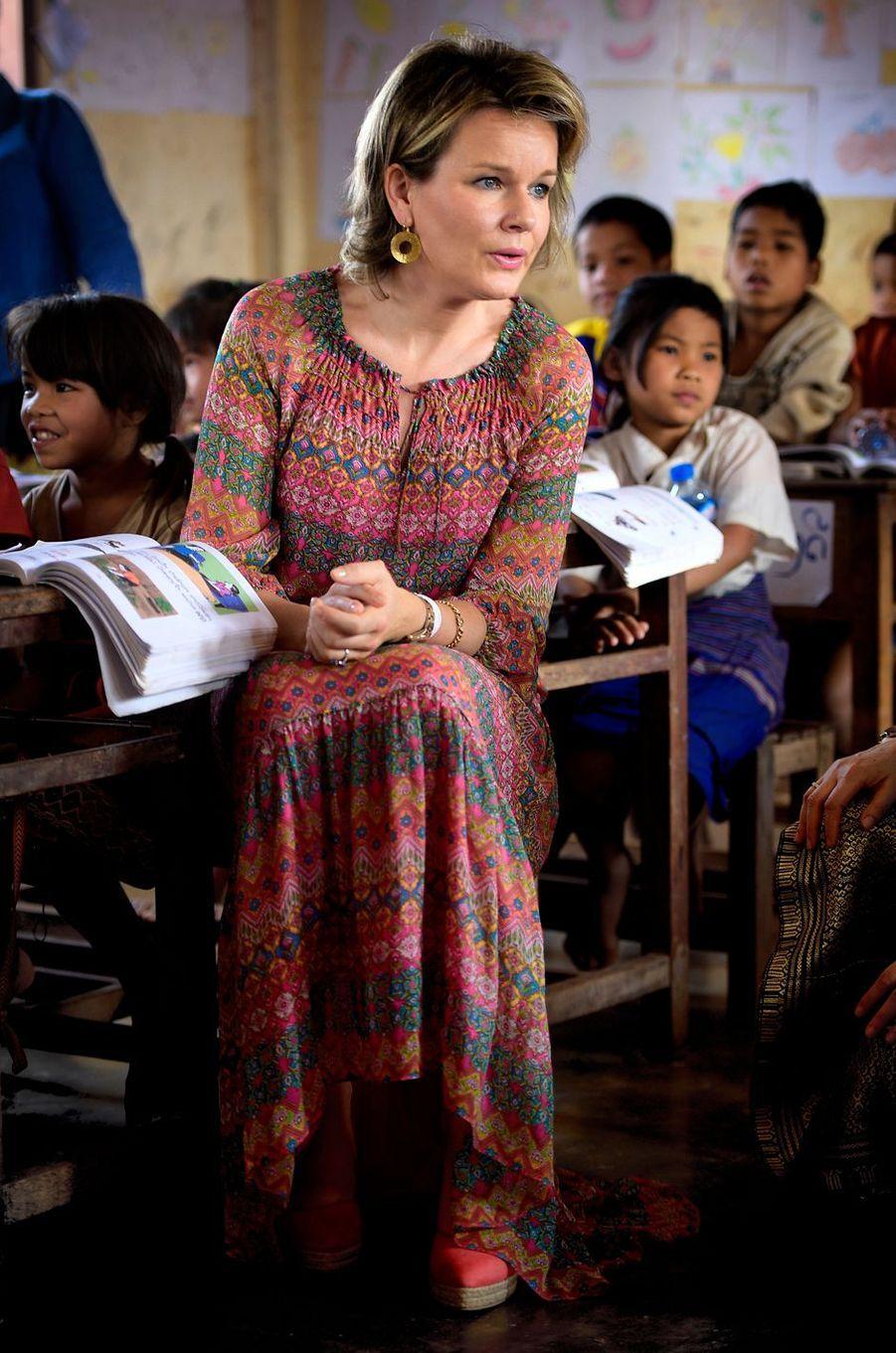 La reine Mathilde de Belgique au Laos, le 22 février 2017