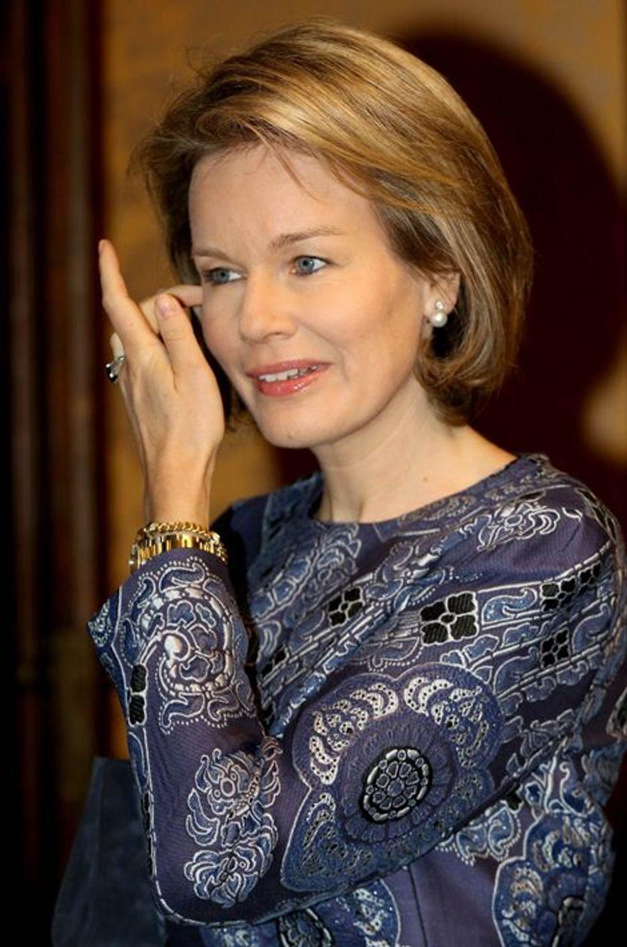 La reine Mathilde de Belgique à Gand, le 16 décembre 2015
