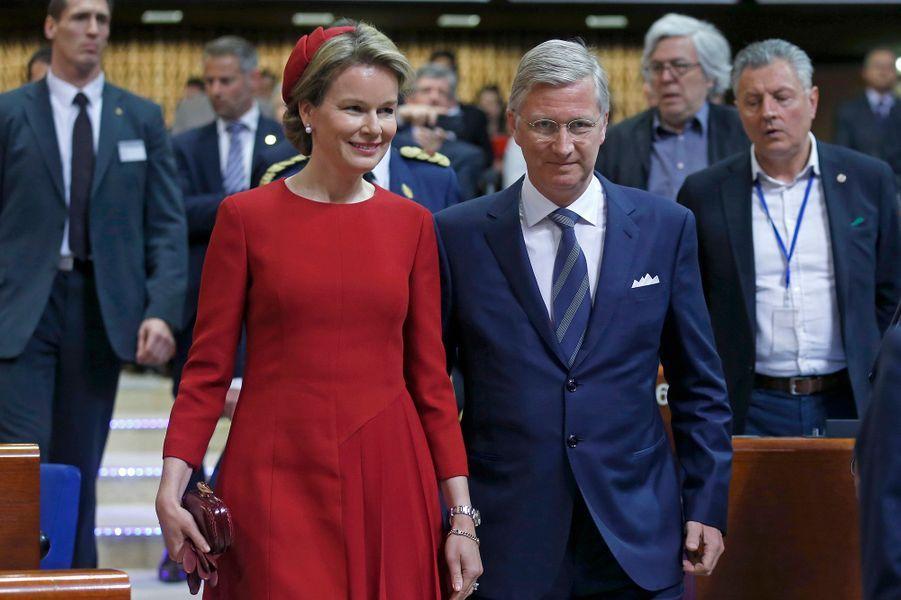 La reine Mathilde et le roi Philippe de Belgique au Conseil de l'Europe à Strasbourg, le 21 avril 2015