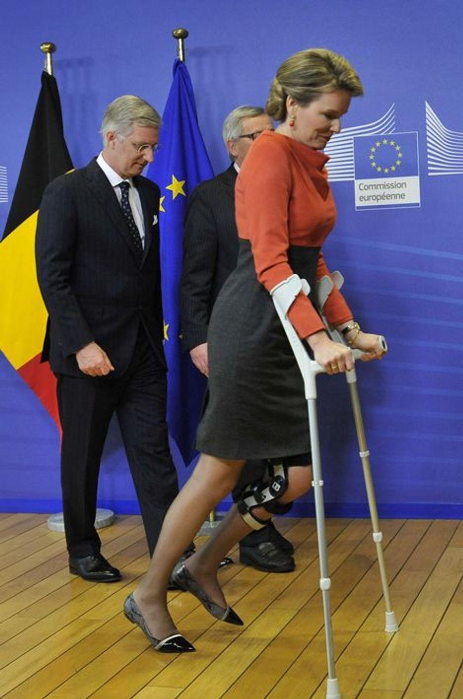 Le roi Philippe et la reine Mathilde de Belgique au Parlement européen à Bruxelles, le 25 février 2015
