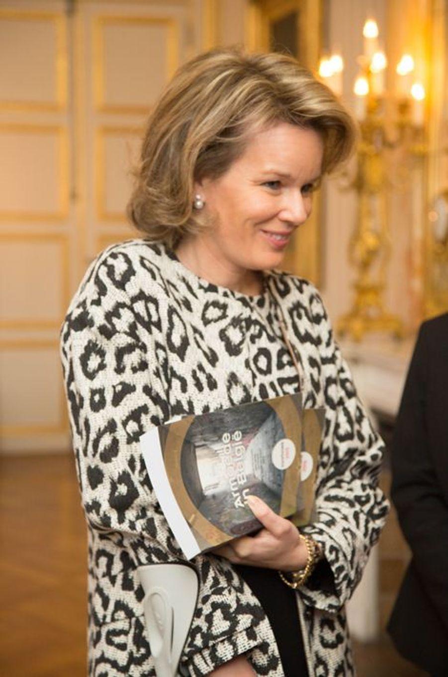 La reine Mathilde de Belgique au Palais royal à Bruxelles, le 3 avril 2015