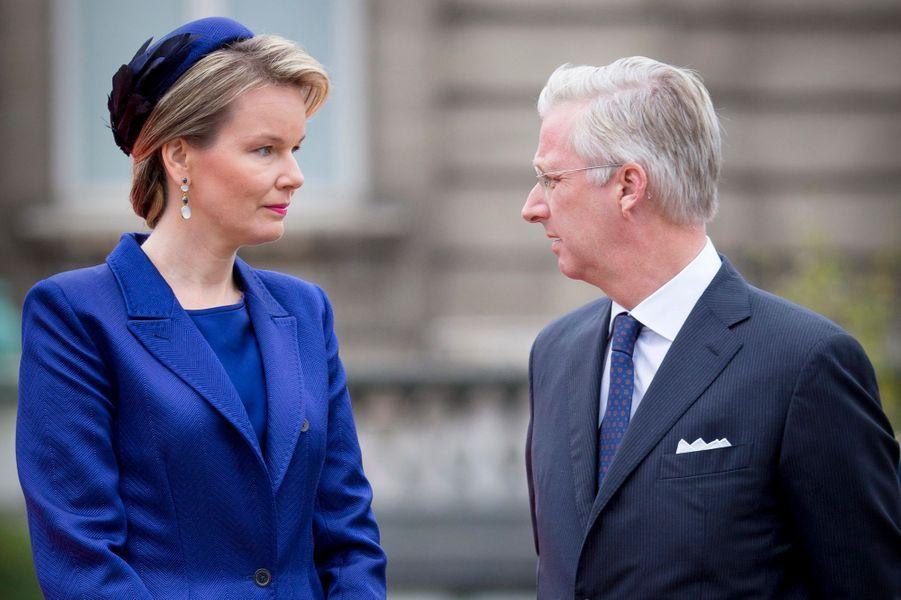 La reine Mathilde et le roi Philippe de Belgique à Bruxelles, le 5 octobre 2015