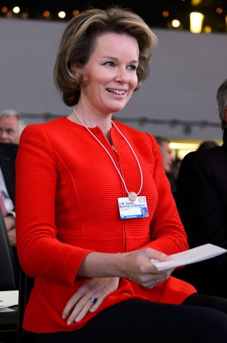 La reine Mathilde de Belgique au Forum économique mondial de Davos, le 19 janvier 2016