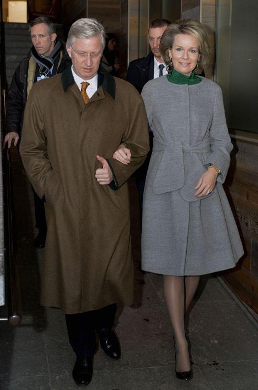La reine Mathilde et le roi Philippe de Belgique au Forum économique mondial de Davos, le 21 janvier 2016