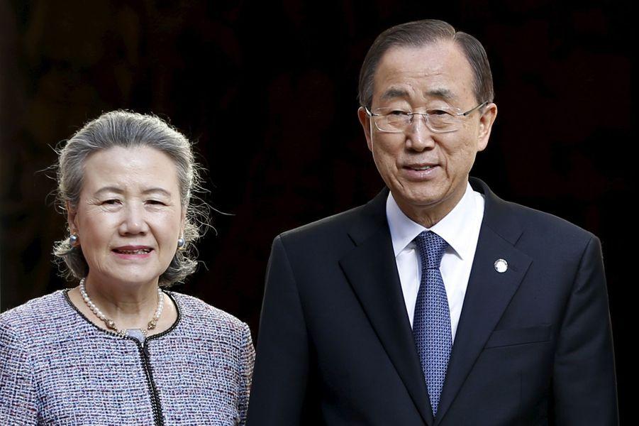 Ban Ki-moon et sa femme Yoo Soon-taek à Bruxelles, le 27 mai 2015