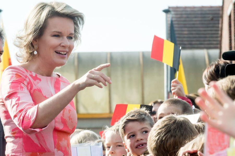 La reine Mathilde de Belgique à Sombreffe dans la province de Namur, le 21 septembre 2017