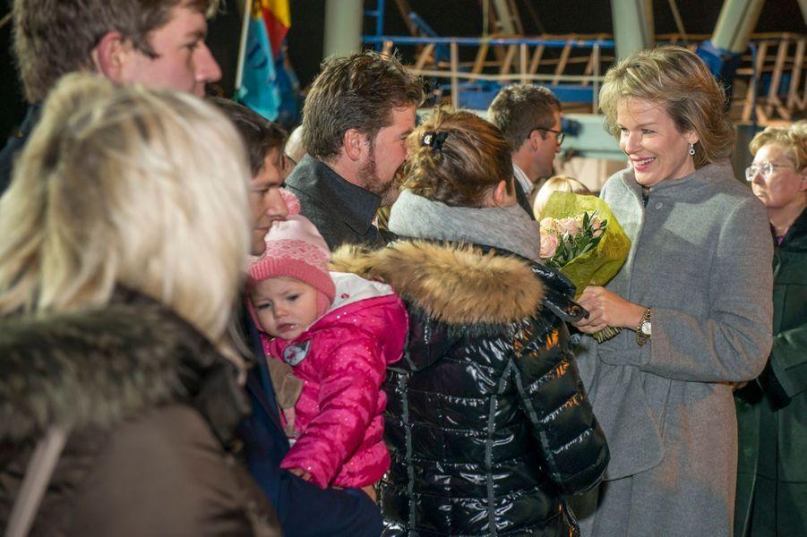 La reine Mathilde de Belgique à Zeebrugge, le 9 novembre 2016