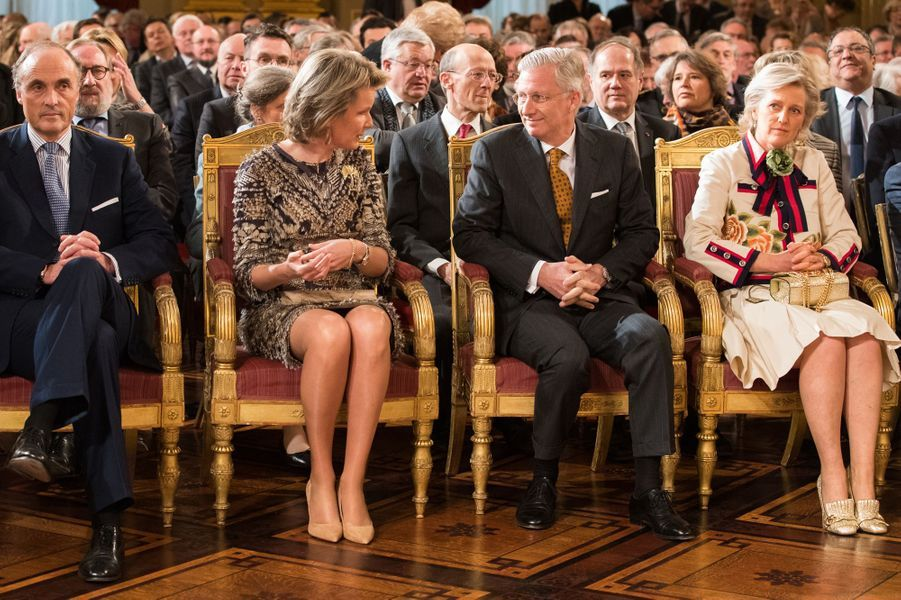 La reine Mathilde et le roi Philippe de Belgique avec la princesse Astrid et le prince Lorentz au Palais royal à Bruxelles, le 31 janvier 2017