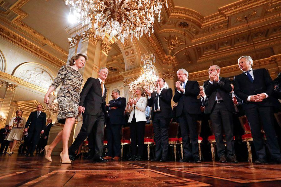 La reine Mathilde et le roi Philippe de Belgique au Palais royal à Bruxelles, le 31 janvier 2017