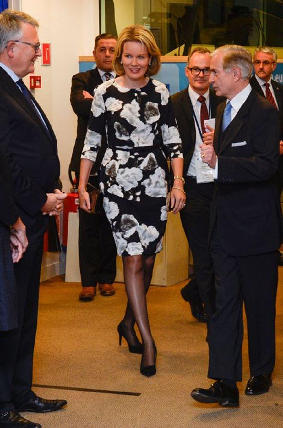 La reine Mathilde de Belgique à Bruxelles, le 19 octobre 2015
