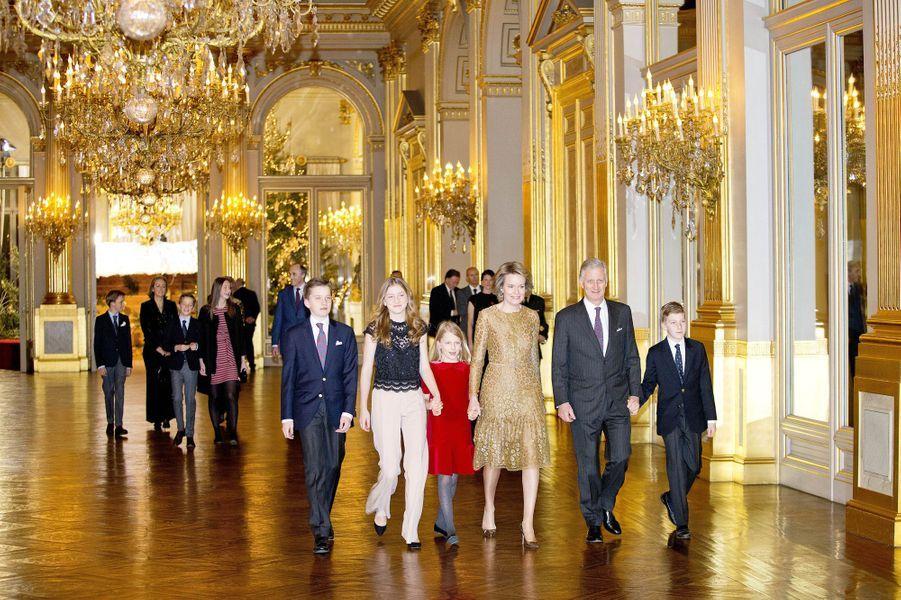 La famille royale de Belgique au Palais royal à Bruxelles, le 20 décembre 2017