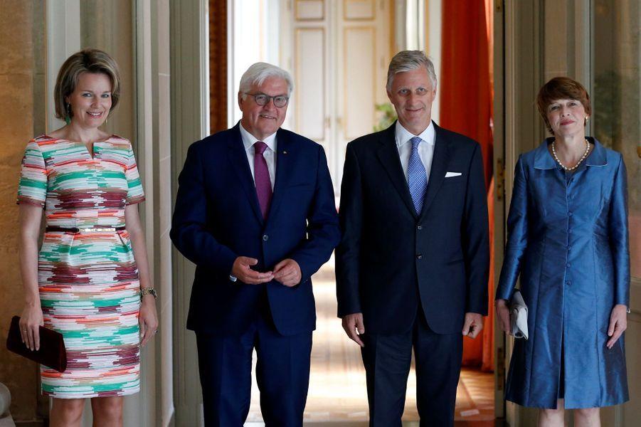 La reine Mathilde et le roi Philippe de Belgique avec le couple présidentiel allemand à Bruxelles le 16 juin 2017