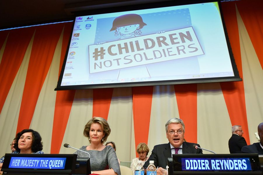 La reine Mathilde de Belgique à l'ONU à New York, le 11 juillet 2016