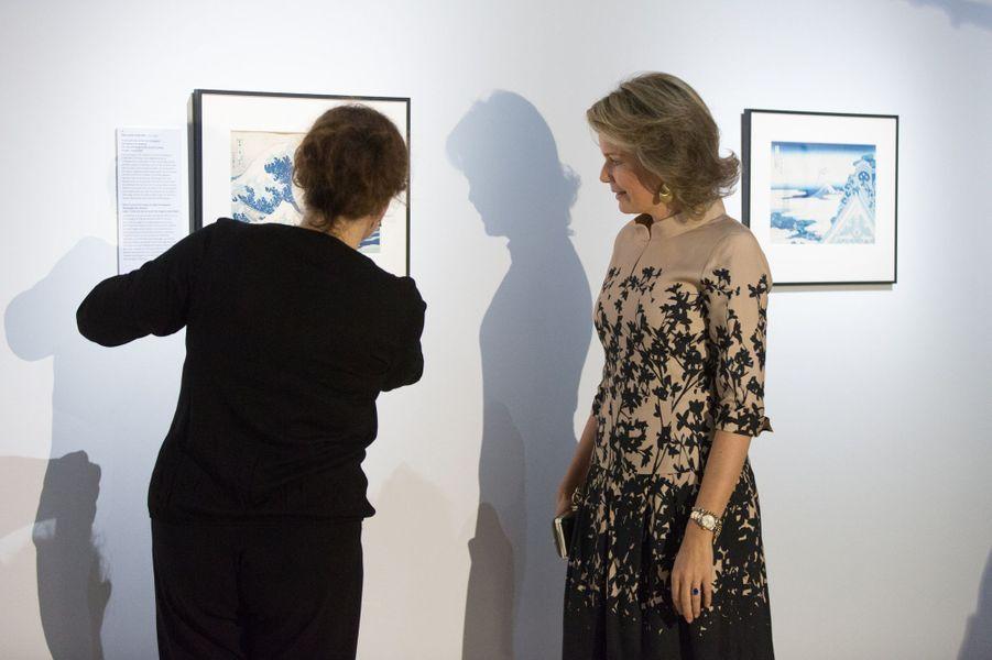 La reine Mathilde de Belgique au musée du Cinquantenaire à Bruxelles, le 17 novembre 2016