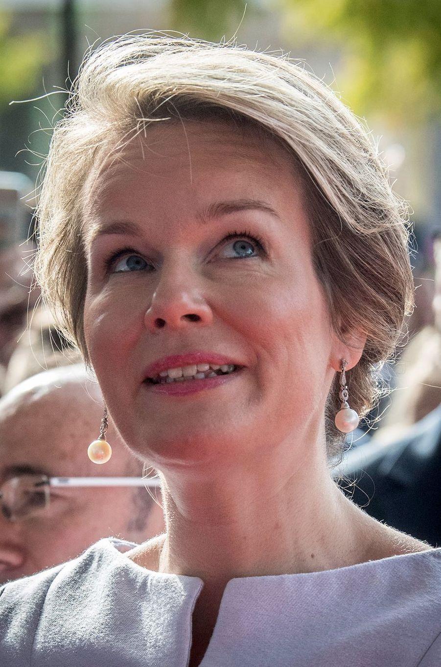 La reine des Belges Mathilde à la Foire du livre de Francfort, le 12 octobre 2017
