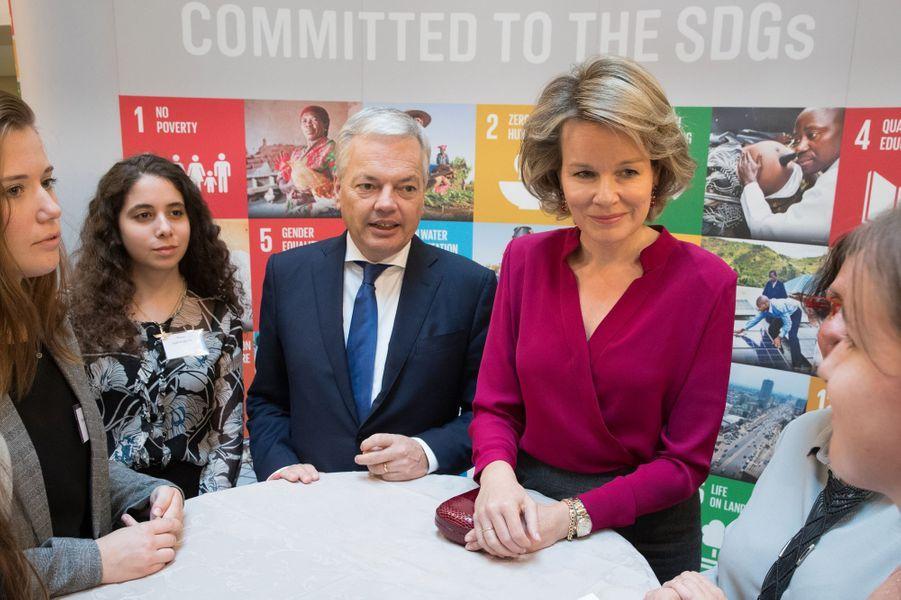 La reine des Belges Mathilde, défenseur des ODD des Nations unies, à Bruxelles le 20 octobre 2017