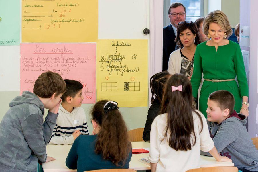 La reine Mathilde de Belgique à Saint-Gilles, le 15 mars 2016