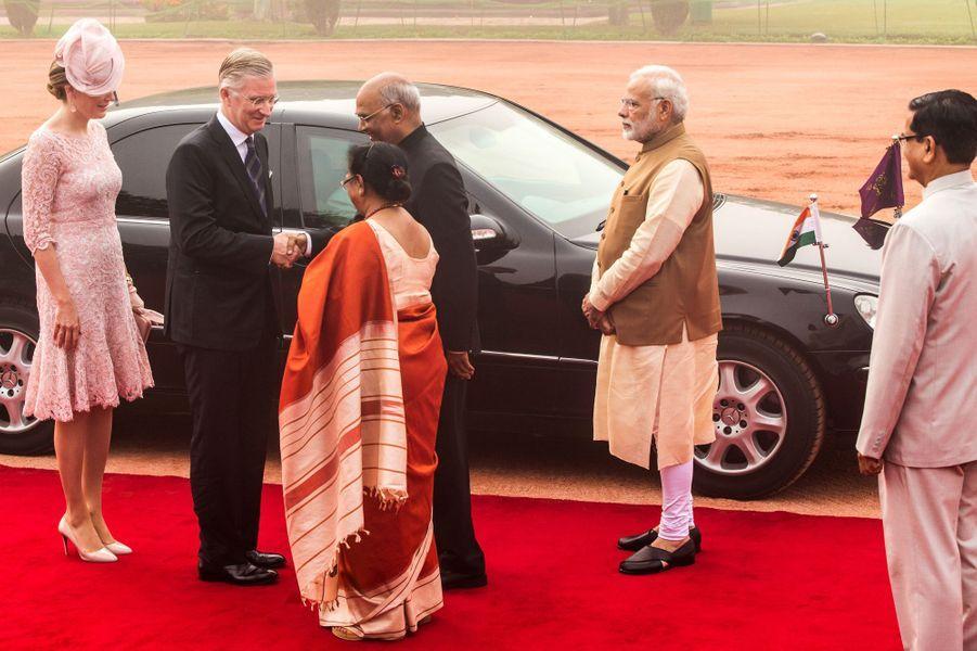 La reine Mathilde et le roi Philippe de Belgique à New Delhi, le 7 novembre 2017